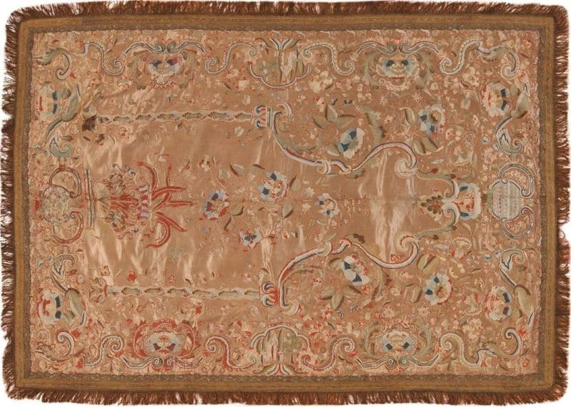 Antique Persian Silk Embroidery Textile | Nazmiyal
