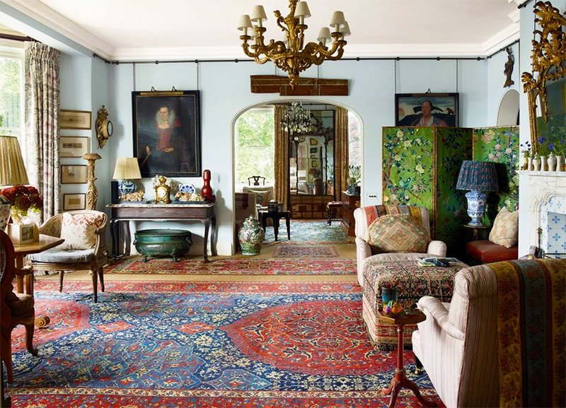 Antique Rugs in Living Room with Multiple Seating Areas - Nazmiyal