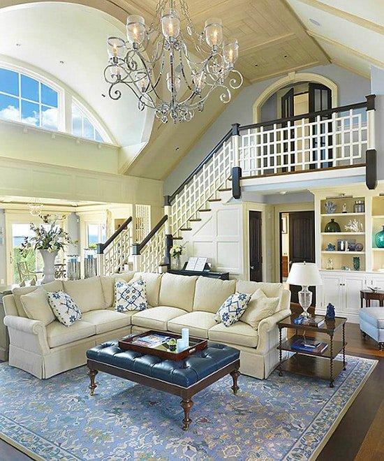 Neutral Blue Oriental Rug Interior Design - Nazmiyal