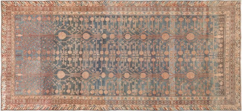 Tribal Blue Grey Antique Pomegranate Khotan Rug Nazmiyal
