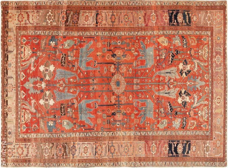 Large Rustic Antique Persian Serapi Rug Nazmiyal