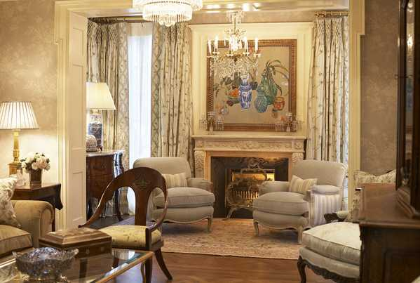 Gorgeous Interiors Sitting room with an Antique Sultanabad Rug by Nazmiyal
