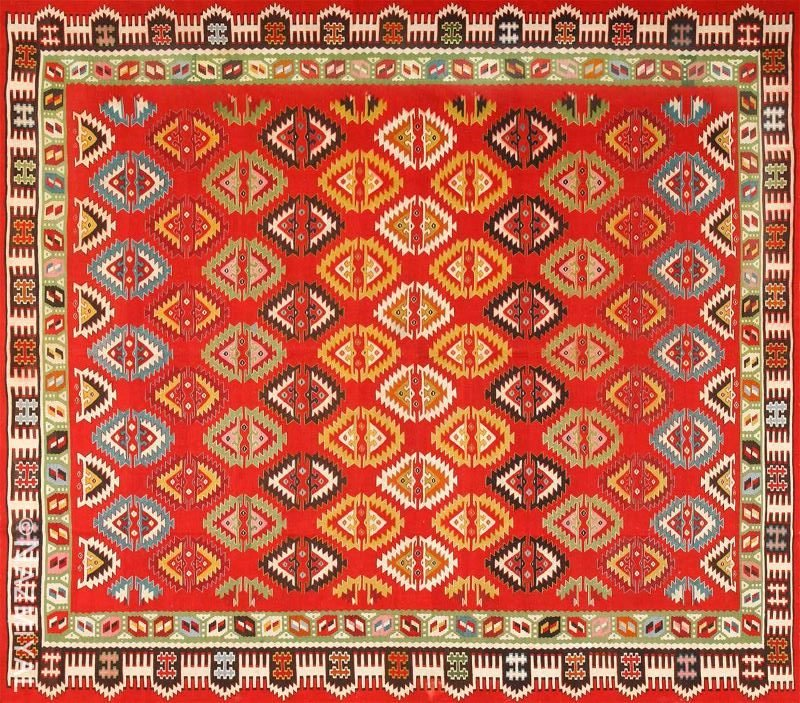 Vibrant and Fine Vintage Sarkoy Turkish Kilim Rug Nazmiyal