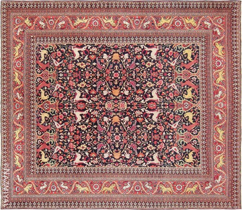 Antique Persian Khorassan Animal Motif Rug Nazmiyal