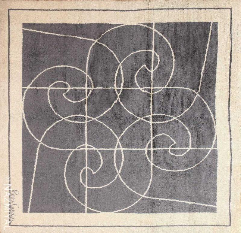 Square Size Mid Century Pierre Cardin Vintage Rug Nazmiyal