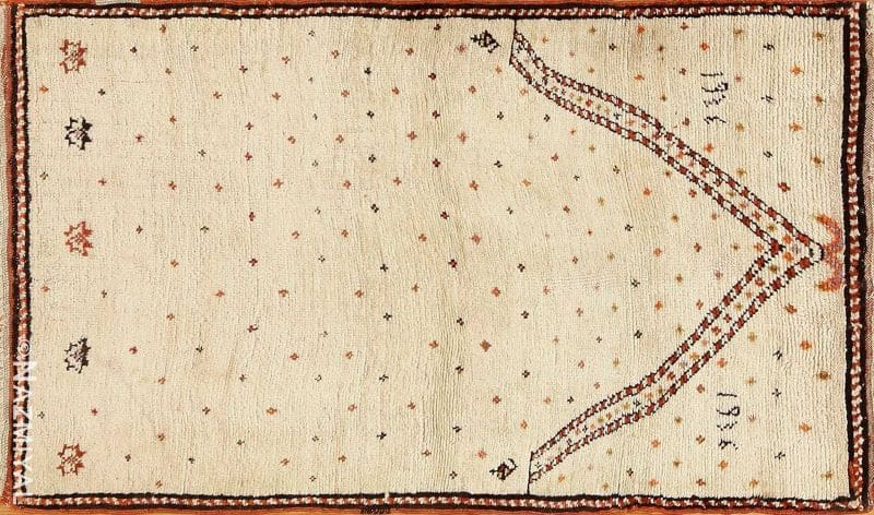 Antique Tribal Prayer Persian Gabbeh Rug Nazmiyal