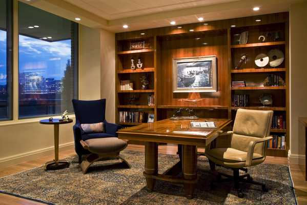 Gorgeous Interiors - office space with an Antique Kerman Rug Nazmiyal