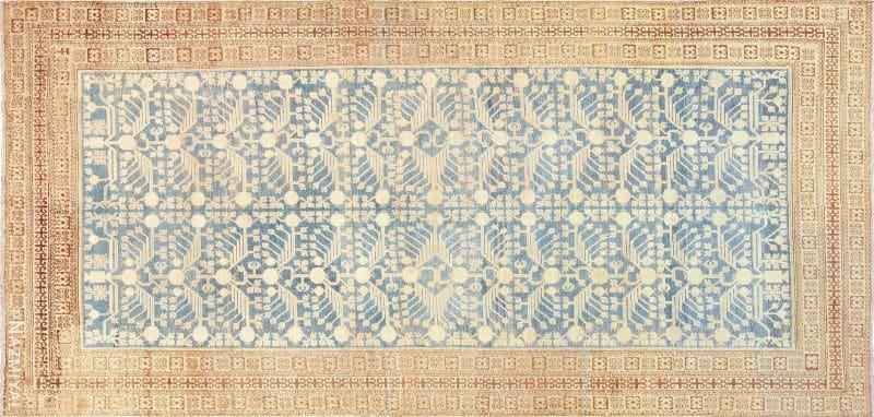 Light Blue Color Pomegranate Design Antique Khotan Rug Nazmiyal