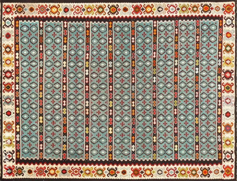 Fine Light Blue Tribal Antique Turkish Kilim Rug Nazmiyal