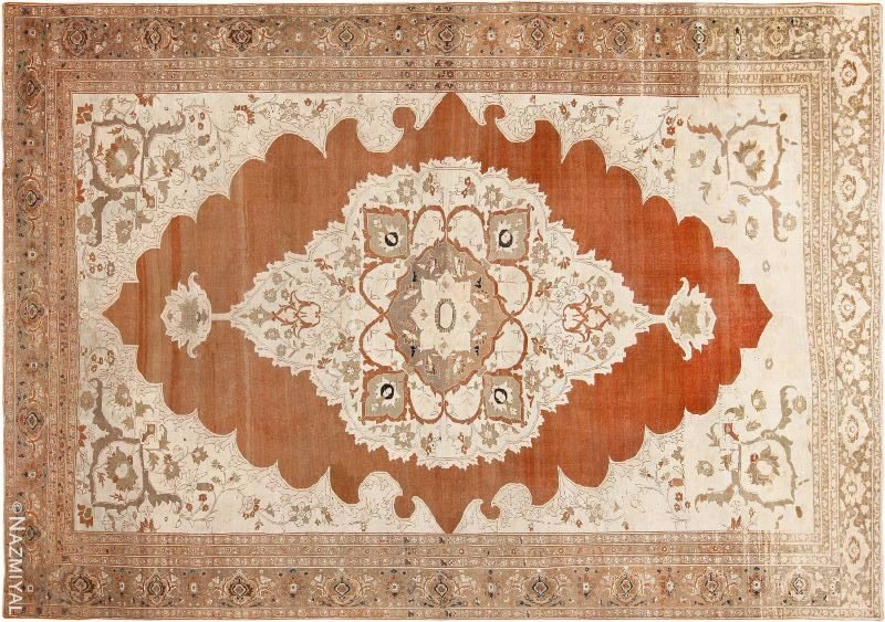 Fine Cotton And Wool Antique Persian Tabriz Rug Nazmiyal