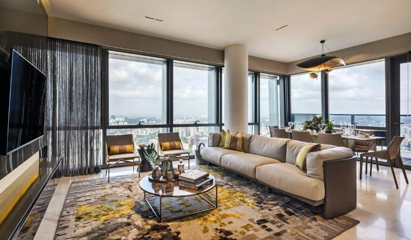 A Modern Area Rug in The The Wallich Residence in Singapore - Nazmiyal Antique Rugs