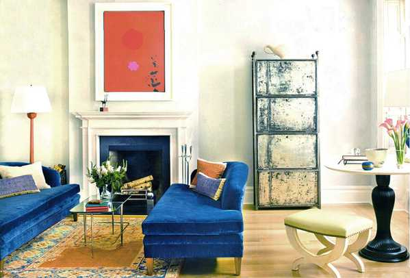 Gorgeous Interiors - interior featuring a fine antique Persian Sultanabad Sampler Rug from Nazmiyal