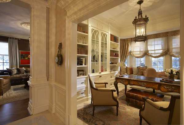 Gorgeous Interiors - home office with an Antique Sultanabad rug from Nazmiyal
