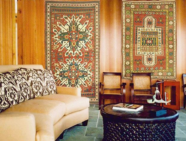 Hanging Antique Oriental Rugs As Wall Art by Nazmiyal