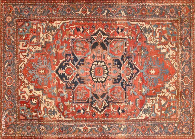Large Geometric Antique Persian Heriz Serapi Rug Nazmiyal