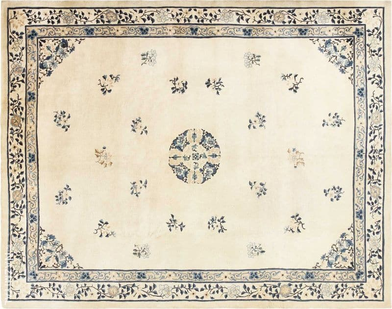 Antique Room Size Ivory and Blue Chinese Rug Nazmiyal