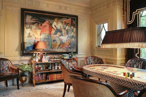 Gorgeous Interiors - Billiard's room beauty: Tabriz Rug by Nazmiyal