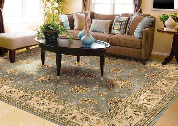 Family Room Interior Design With Oriental Rug by Nazmiyal