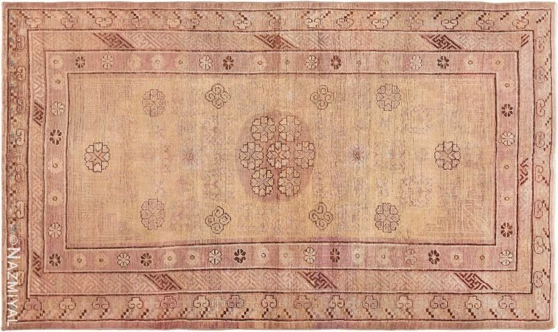 Soft Yellow and Mauve Antique Khotan East Turkestan Rug Nazmiyal