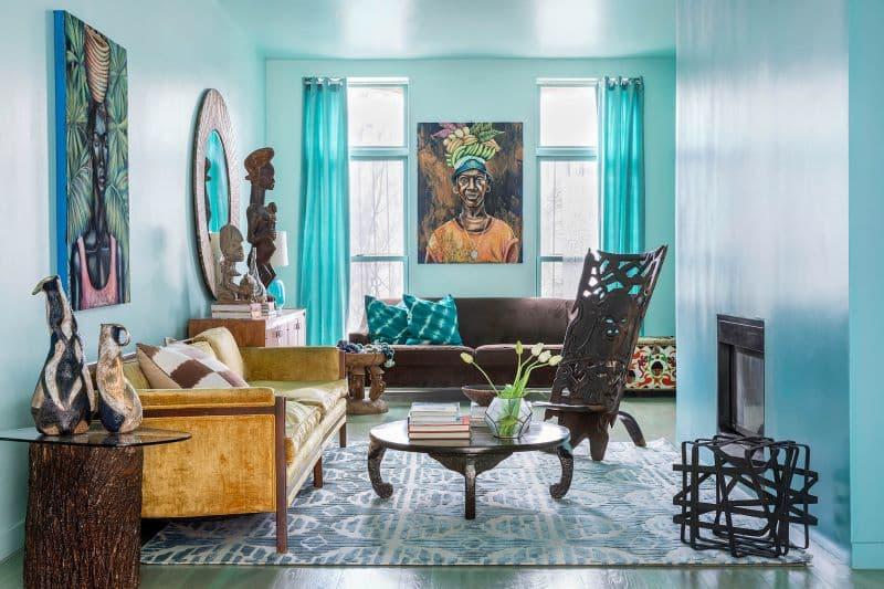 Neutral Rug To Offset Vibrant Living Room Nazmiyal