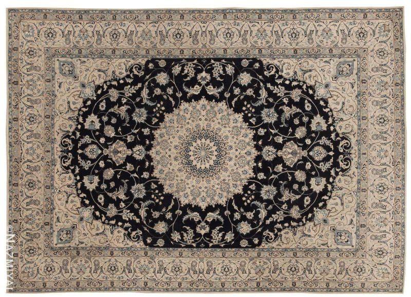 Vintage Persian Silk and Wool Nain Rug Nazmiyal