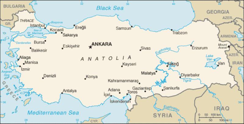 Map of Anatolia Nazmiyal