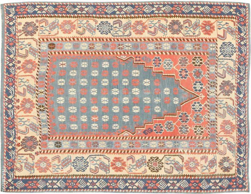Prayer Design Antique Turkish Kilim Rug Nazmiyal