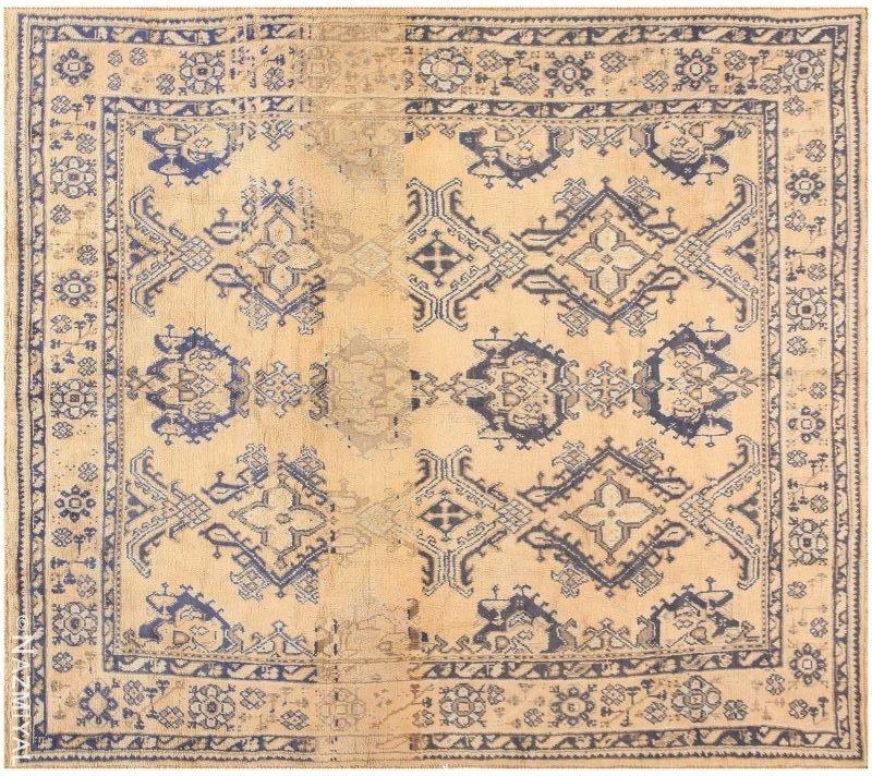Decorative Square Size Antique Turkish Oushak Carpet Nazmiyal