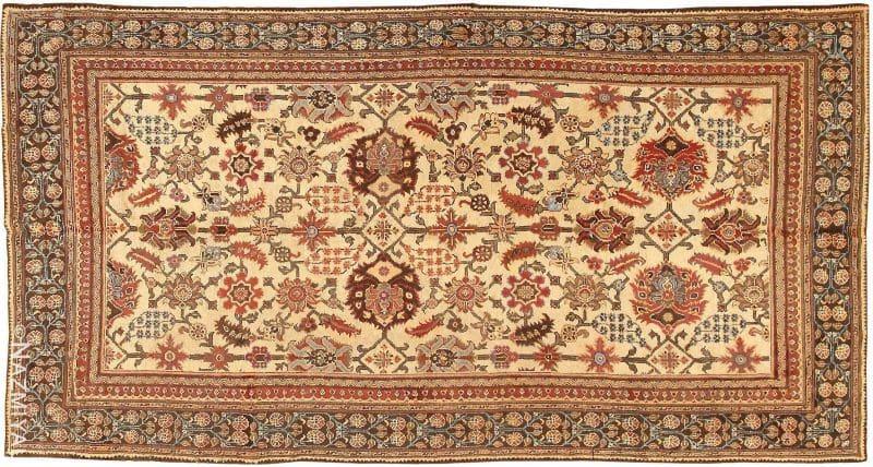 Long and Narrow Ivory Antique Indian Agra Rug Nazmiyal
