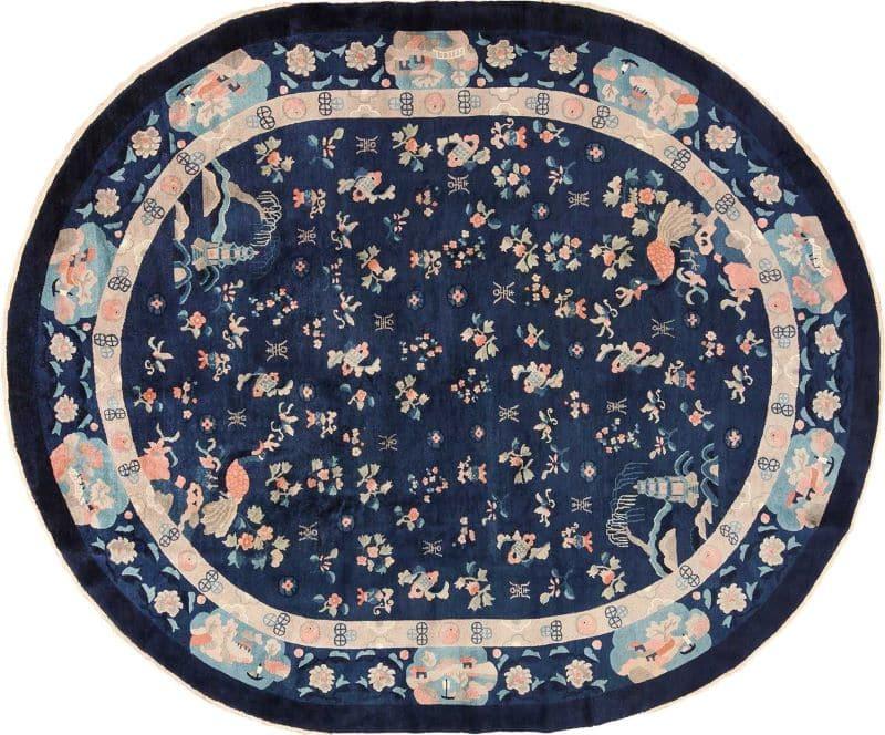 Oval Navy Blue Background Antique Chinese Rug Nazmiyal