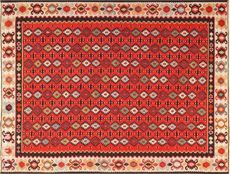 Fine and Geometric Vintage Sarkoy Turkish Kilim Rug Nazmiyal