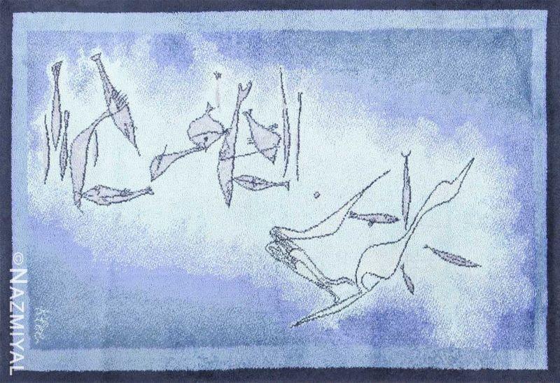 Vintage Paul Klee Inspired Scandinavian Fish Rug by Ege Nazmiyal