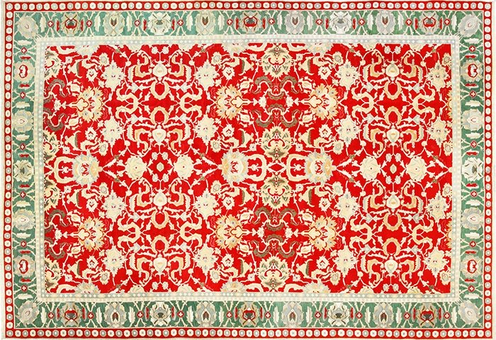 Large Antique Red Indian Agra Carpet 49304 by Nazmiyal