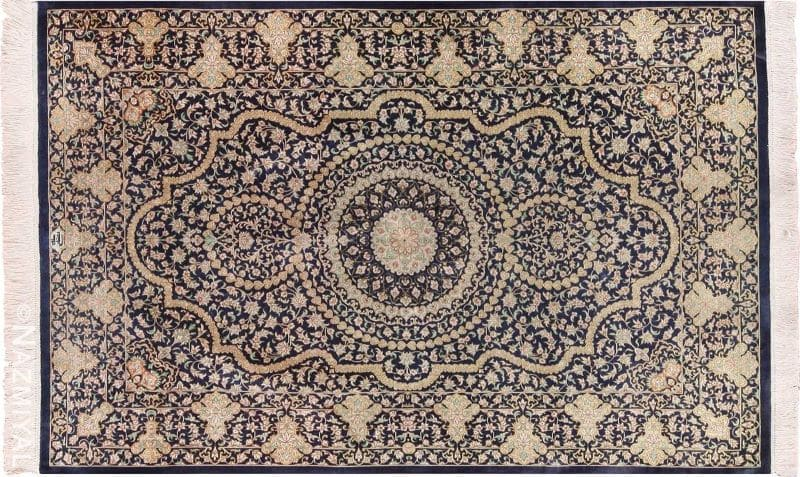 Vintage Persian Silk Qum Rug Nazmiyal