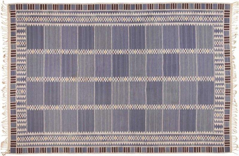 Vintage Scandinavian Salerno Blue Marta Maas Rug Nazmiyal