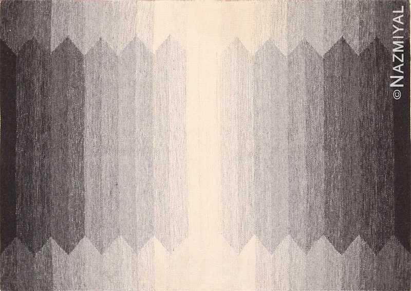 Small Vintage Geometric Grey Swedish Kilim Rug Nazmiyal