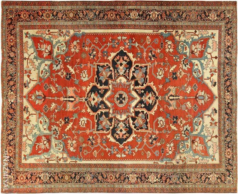 Roomsize Antique Serapi Persian Rug Nazmiyal