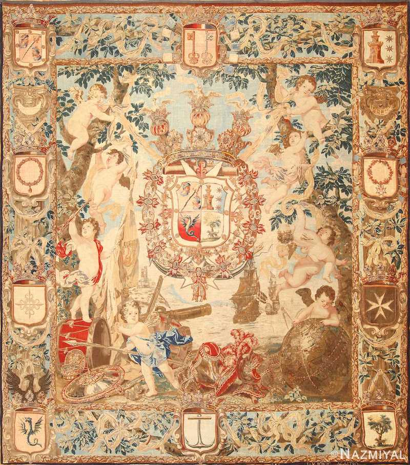 Antique Flemish Heraldic Tapestry of a Spanish Noble Admiral Nazmiyal