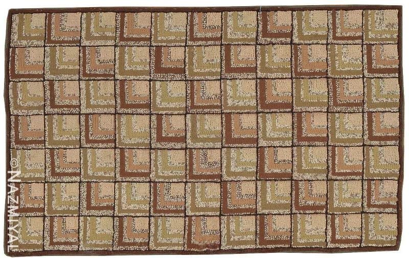 Small Scatter Size Antique American Green Hooked Rug Nazmiyal