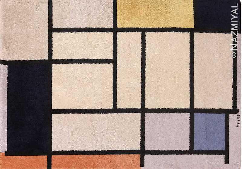 Vintage Scandinavian Piet Mondrian Art Rug Nazmiyal