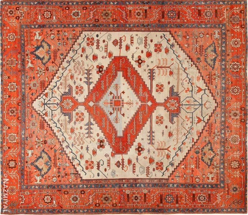 Ivory Antique Serapi Persian Rug Nazmiyal