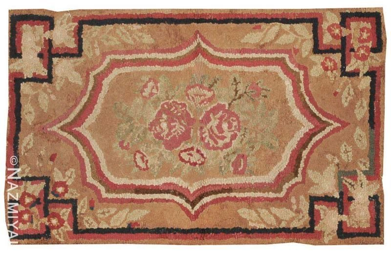 Small Scatter Size Antique Floral American Hooked Rug Nazmiyal