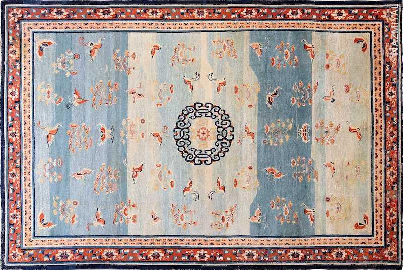 18th Century Kansu Carpet from China Nazmiyal
