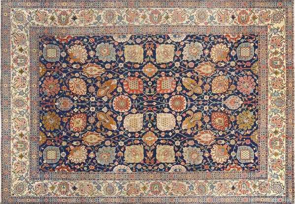 Antique Navy Background Persian Tabriz, Nazmiyal