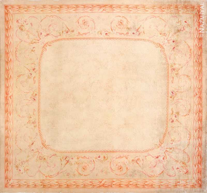 Square Antique French Savonnerie Rug Nazmiyal
