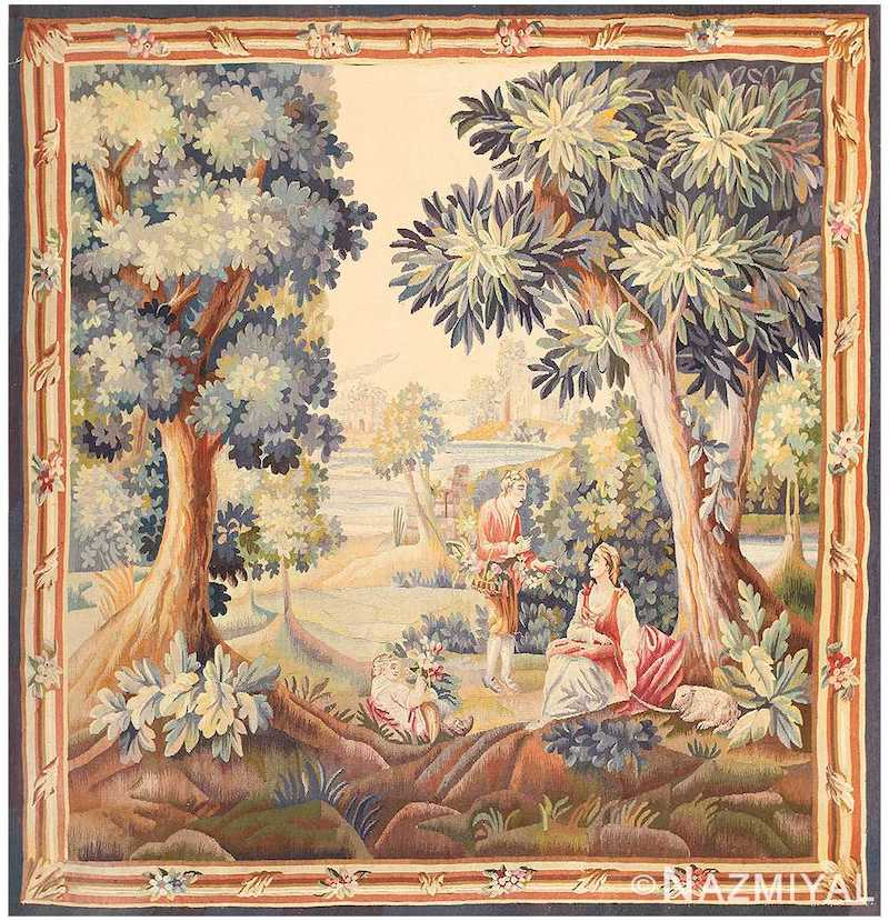 Silk and Wool Antique French Romantic Tapestry Nazmiyal