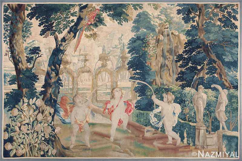 Antique 18th Century Flemish Tapestry Titled Pastoral Nazmiyal