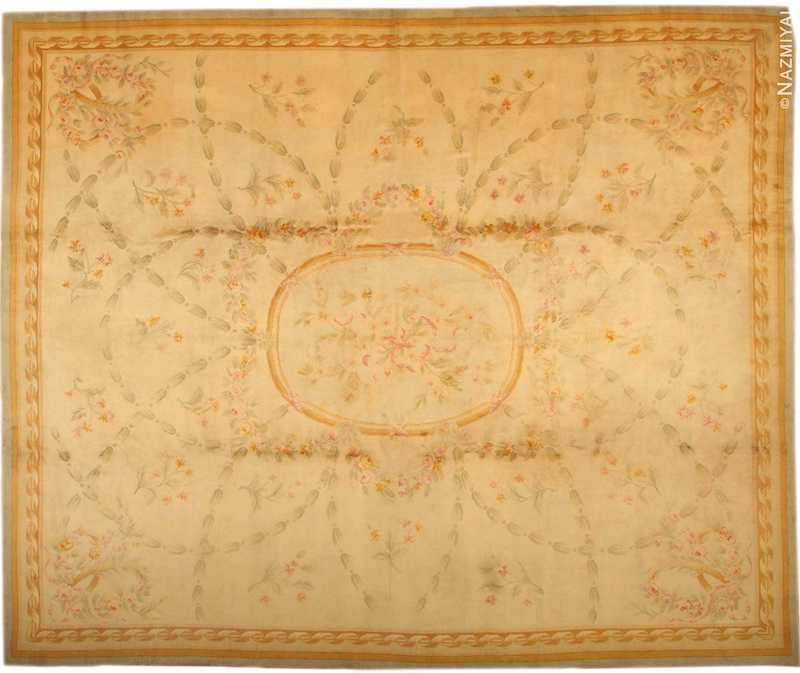 Large Floral Antique French Savonnerie Carpet Nazmiyal