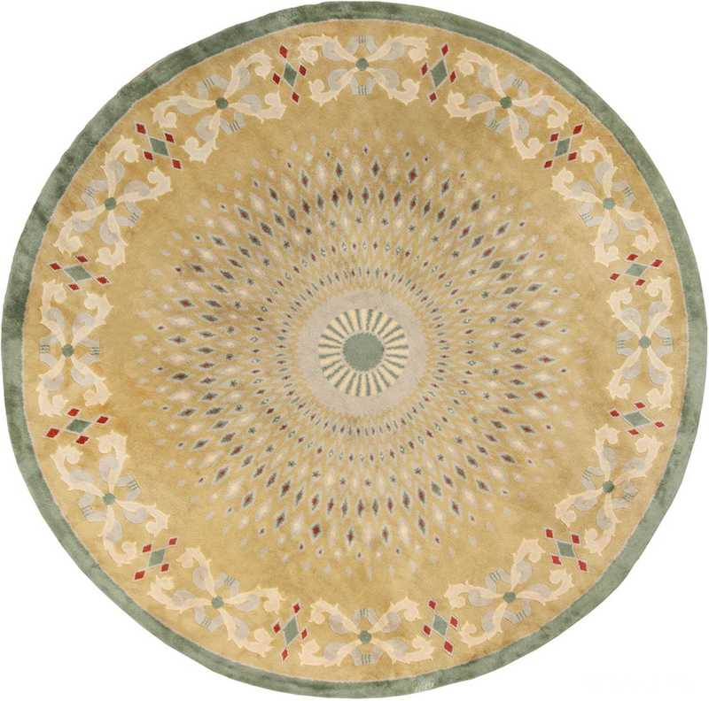 Antique Round French Art Deco Rug by Leleu Nazmiyal