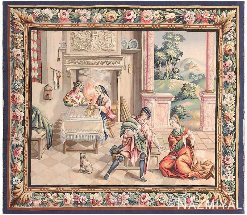 Antique French Tapestry Rug Nazmiyal